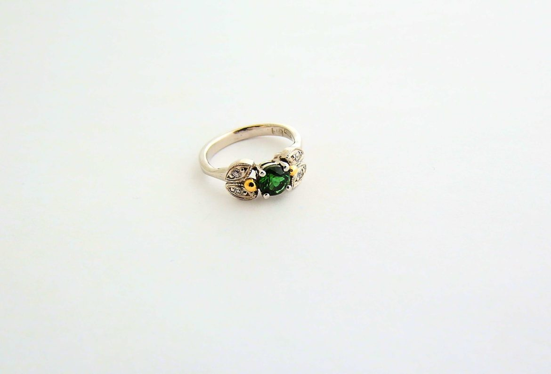 Green Tourmaline white gold ring