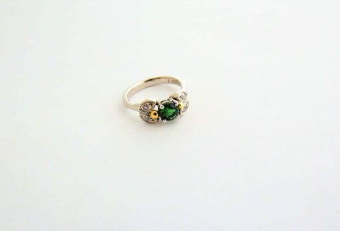 Green Tourmaline white gold ring