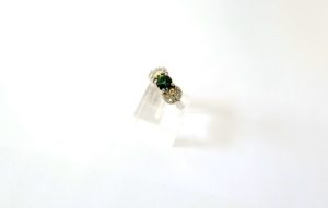 Green tourmaline and diamonds engagement ring